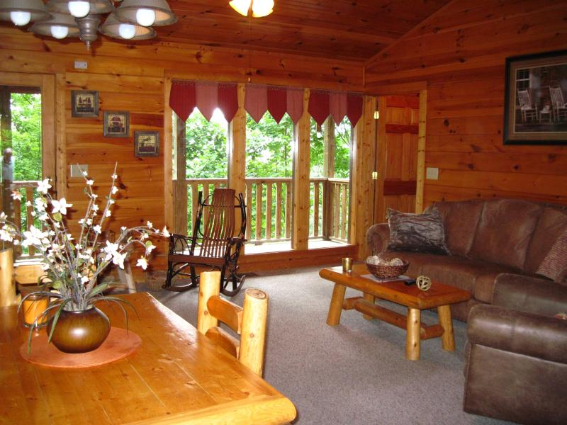 View from dining room to Living room - Very Private Cabin Couples & Sm Family Great Rates - Gatlinburg - rentals