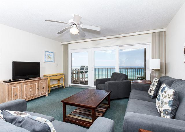 New living room furniture with comfy sofas. Purchased in 2014. - Condo#5001:Colorful gulf front condo-WiFi,FREE BEACH SERVICE + GOLF included - Fort Walton Beach - rentals