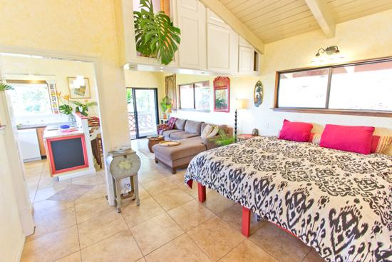 Bed into Living Area - Gorgeous Cottage; Views; Waterfall; Hike 22 Acres - Makawao - rentals