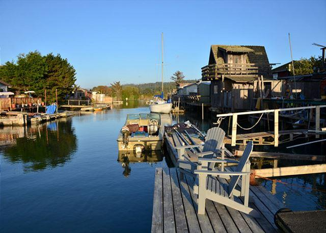 Dock at high tide! Perfect for you own private launch! - Shell Cottage on Humboldt Bay in King Salmon - Dock in Backyard! Clean & New - Eureka - rentals