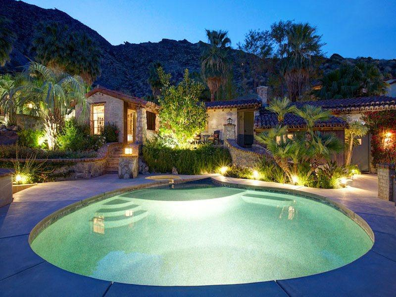 Guest House 143 - Two Bedroom  and Pool  Spa at Night - H-Colony 29 Resort - 3 Bedroom Group - Palm Springs - rentals