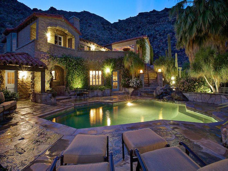 Poolside at Night - H-Colony 29 Resort - 5 Bedroom, 4.5 Bath Main House - Palm Springs - rentals