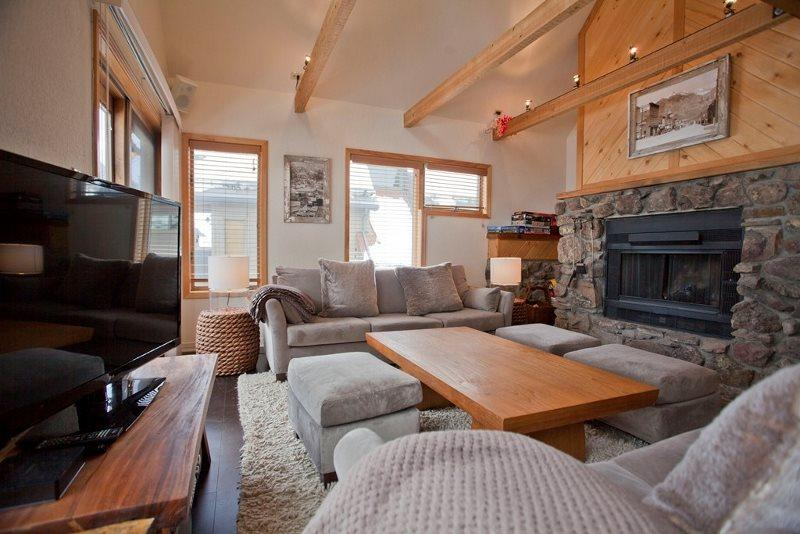 Great Room with High Ceilings - Wood Burning Fireplace - Seating for 8 - Flat Screen TV - Lulu 3 E - 2 Bd / 2 Ba - Sleeps 5 - Comfortable Condo located 1 block from base of Lift 7 - Ideal Winter or Summer Rental - Views of the Ski Area - Telluride - rentals