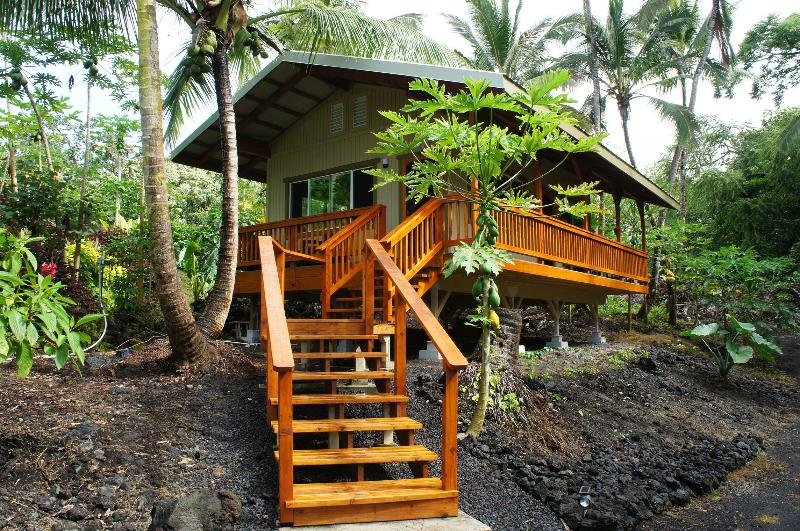 Our Ohana guest cottage, surrounded by papaya and coconut, on our tropical farm. - Escape to Hawaii, Red Road between Kehena/Kapoho - Pahoa - rentals