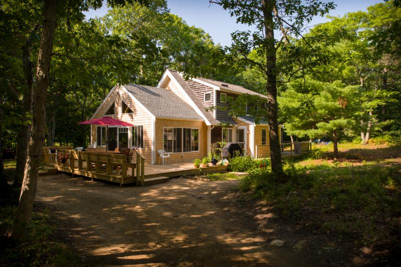 House view from driveway - Private-In the Woods ,  New Additions - West Tisbury - rentals
