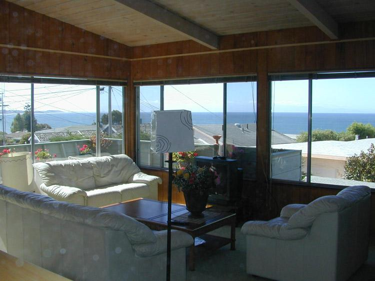 Livingroom Ocean View From Three Sides - Ocean Views . Stairs to Beach by House . Hot Tub - Santa Cruz - rentals