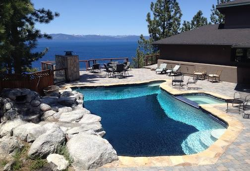 Private pool on the patio with panoramic lake view - Tahoe Luxury 7-bedroom house with pool - Glenbrook - rentals