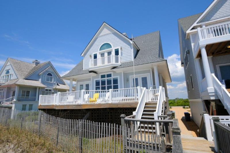 View of House From Beach - Island Drive 4336 Oceanfront! | Internet, Community Pool, Jacuzzi, Pet Friendly - North Topsail Beach - rentals