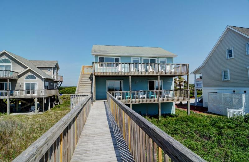 View of House From Beach - Island Drive 3512 Oceanfront!   Internet, Pet Friendly - North Topsail Beach - rentals