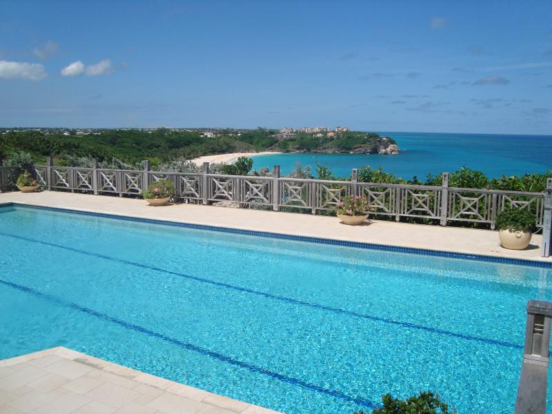 View of pool deck and Foul Bay Beach - Turtle Cove Villa Overlooking the Atlantic Ocean - Saint Philip - rentals