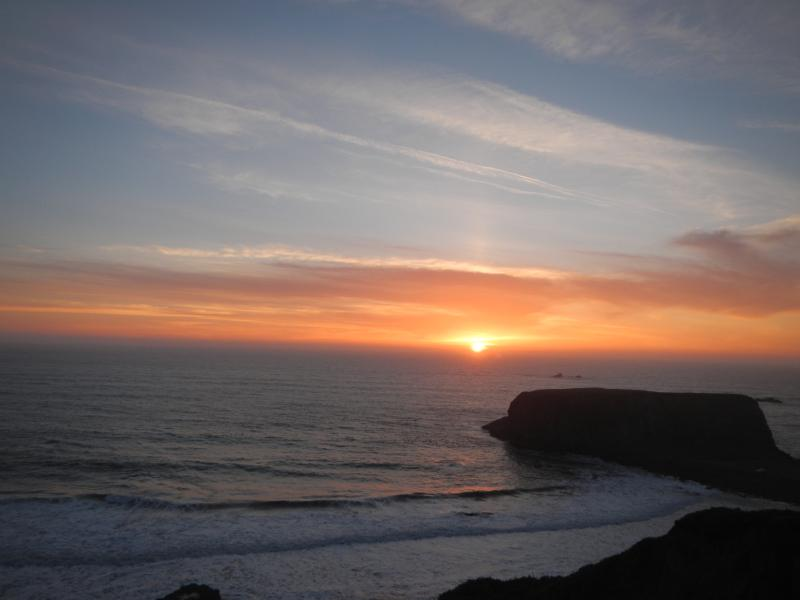 Sunset over Goat Rock isthmus taken from the road in front of property - Oceanfront Gem, Sonoma Coast, Goat Rock, Panoramic - Bodega Bay - rentals