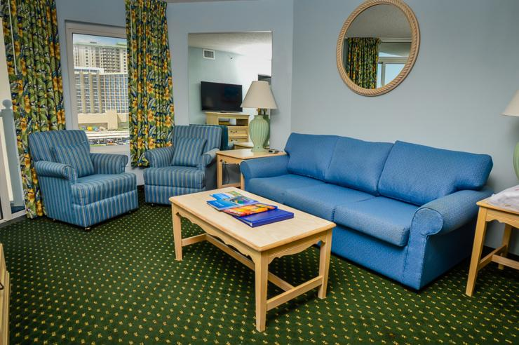 Living room with balcony access - Pools/lazy river/more!!! Sea Watch 602 2BR condo! - Myrtle Beach - rentals