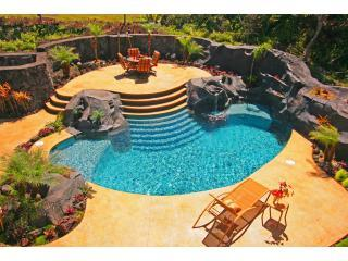 The private courtyard from front covered lanai - Luxury Oceanfront with Pool and Air Conditoned Comfort - Hilo - rentals