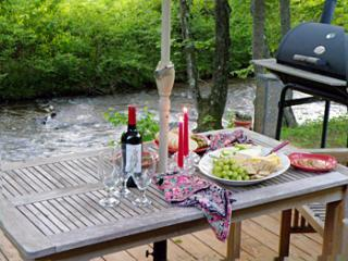 Dining next to the creek. - Quincy Creek Cottage - Fish From Your Deck! - Franklin - rentals