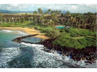 Aereal View of the Lae Nani complex - Lovely Wailua Bay Oceanfront Condo in Kauai Hawaii - Kapaa - rentals