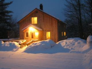 Front of House on a Winter Night - Beautiful Cabin Sleeps 13 Near Ragged Mountain - Alexandria - rentals