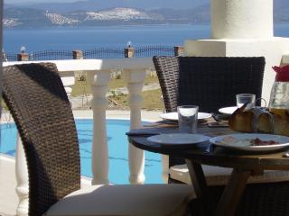 Breakfast on Balcony at Abelia Apartments pool in background - 27 & 28 Abelia 2 Bed/Bath Views over Aegean, Pool - Bodrum - rentals