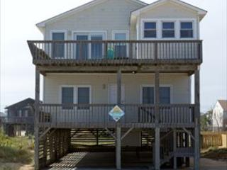Exterior of home from the beach road shows open and covered porches as well as hot tub room - Sweet Virginia Breeze 24989 - Kitty Hawk - rentals