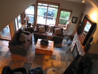 LIVING ROOM, FROM ABOVE, HAS HEATED SLATE FLOORS AND QUEEN SIZE SOFA/SLEEPER, LARGE FLAT PANEL TV - Whistler's Upper Village / ski-in/sleeps 9/hot tub - Whistler - rentals