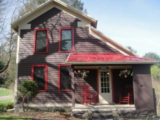 Back covered porch / pond view - TWIN PONDS 6 room Farmhouse on 20 acres. - Pittston - rentals