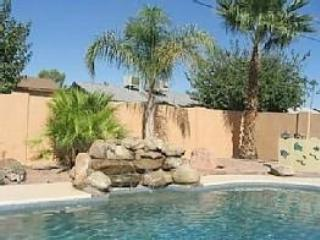 AZ 8th Ave - Overview of pool with waterfall-2009 - Private Pool & Hot Tub. Sleeps 8! Near Everything! - Mesa - rentals