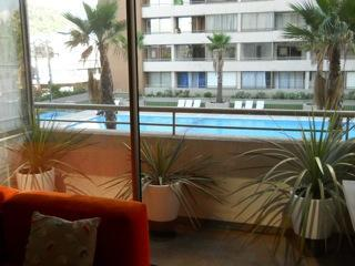 Overlooking the building pool from the living room area - Beautiful 1 bedroom apt in Santiago Bellavista - Santiago - rentals