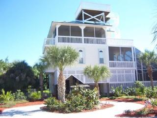 View from front of home - Beach Home w/ Screened In Pool, Hot Tub, Elevator - North Captiva Island - rentals