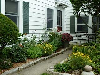 Hidden Treasure entrance, gardens and patio - Hidden Treasure - In Town Historic District - Bar Harbor - rentals