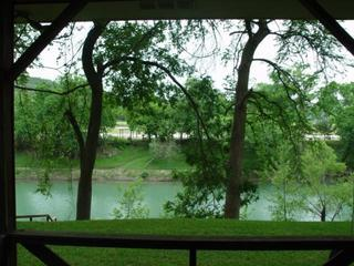 View sitting on back patio - River front & view, patio, deep area swim,tube,fish - New Braunfels - rentals