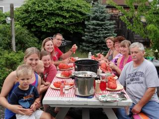 Family celebration  - back yard of cottage - Lynn Grainger
