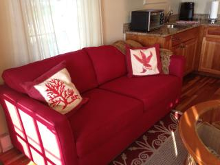 Pull out couch. - The Moxie Oceanfront Luxury Cottage