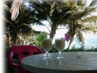 Drinks on our porch facing the ocean - Ocean/beach front house on the edge of the ocean - Puerto Plata - rentals