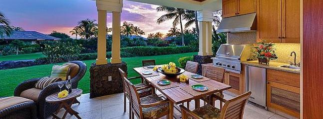 "Kolea Villa 5A - Lanai Kitchen & Dining at Sunset - Kolea Villa 5A ~ Partial Ocean View ""Ocean Sunset"" - Waikoloa - rentals"