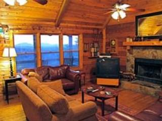 Main floor living room and wood burning fire place. - My Cabin - Blue Ridge - rentals