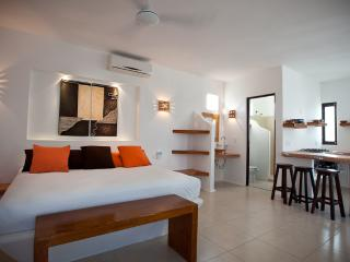 Chocolate's main bedroom, with the bathroom, and the open kitchen - Tamarindo II - Chocolate Apartment - Quintana Roo - rentals