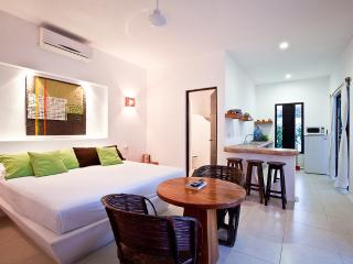 The Lime apartment's main room, with its bathroom, and the open kitchen - Tamarindo II - Lime Apartment - Quintana Roo - rentals