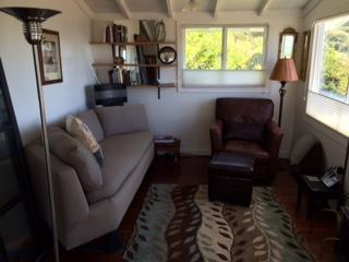 View from French doors to living room - Ocean View Cottage-Sleep with Sounds of the Waves - Stinson Beach - rentals