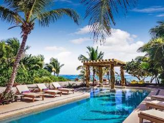 Beachfront Villa Alma Rosa offers breathtaking views, rooftop deck and lap pool - Akumal vacation rentals