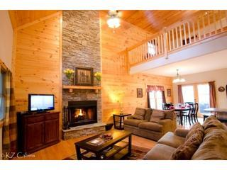 Luxurious spacious accomodations, wood burning fireplace, flat screen TV, wifi, DVD and stone hearth and wood floors at Star Seasons Retreat - Star Seasons Retreat  Coosawattee  Hot Tub - Ellijay - rentals