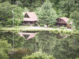 BEAR LAKE LODGE*3 BR/ 2.5BA CABIN WITH CREEK AND LAKE FRONTAGE~GAS GRILL~WIFI~JETTED TUB~TWO ISLANDS~SLEEPS 10~2 CANOES~FISHING  - Blue Ridge vacation rentals