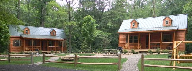 Black Bear Lodge (left) & Pine Tree Lodge (right) - Family cabins in Shenango Valley RV Park, NW PA - Transfer - rentals