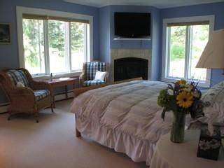 Master Bedroom with gas Fireplace - Contemporary Cape with Panoramic Mountain Views! Summer 2014 available. - Stowe - rentals