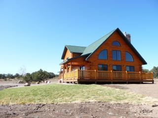 West view of house, driveway on left, SF CO mr - New Log Home w/ Home Theater on Nat. Forest Border - South Fork - rentals
