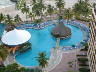 Arial of pool area - Affordable 2 Bedroom Oceanfront Condo - Puerto Vallarta - rentals