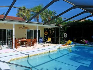 Steps into pool with pool toys included - Windward Way - Waterfront Villa in Gulf Harbors - New Port Richey - rentals