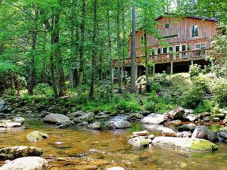 Cedar Lodge...Private, Large creek in front of Cabin, Hot Tub, 2 fire Pits. Close to Blue Ridge Parkway. Mt. Mitchell. - Burnsville vacation rentals