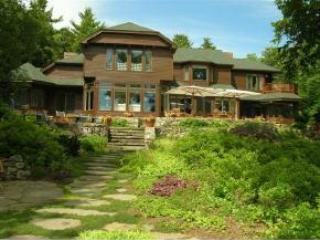 View of house from the dock - Lake Winnipesaukee 8300 sq ft Upscale 7 Bdrm - Wolfeboro - rentals