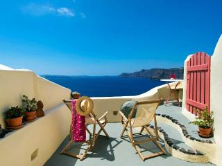 Oia's Nest sits on the cascading cliffs of Oia. - Santorini vacation rentals