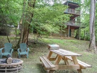 OUR FAVORITE PLACE*CREEK FRONTAGE~2 BR~2 BA~SAT TV~PRIVATE HOT TUB~GAS GRILL~GAS LOG FIREPLACE~KING BED IN MASTER SUITE~PET FRIE - Blue Ridge vacation rentals