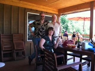 Hanging out at Fox Meadow Winery - 5 min from cabin - Chris & Steve